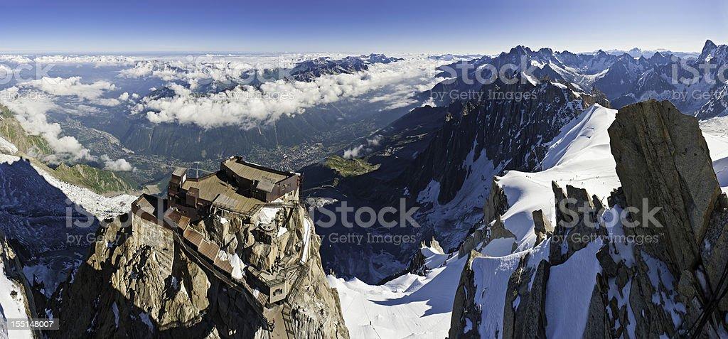 Alps Aiguile du Midi cable car station Mont Blanc France stock photo
