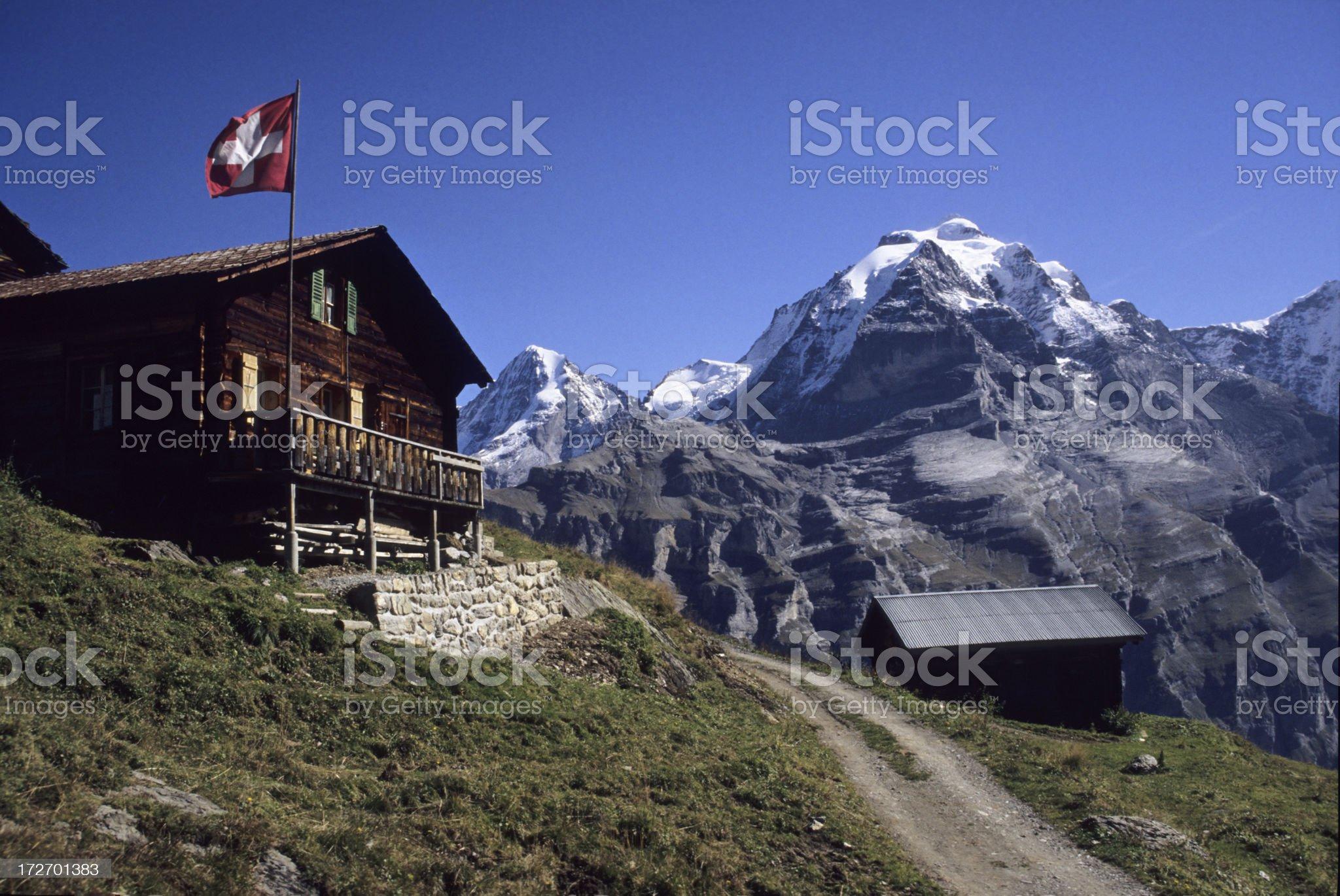 Alps & Swiss flag royalty-free stock photo
