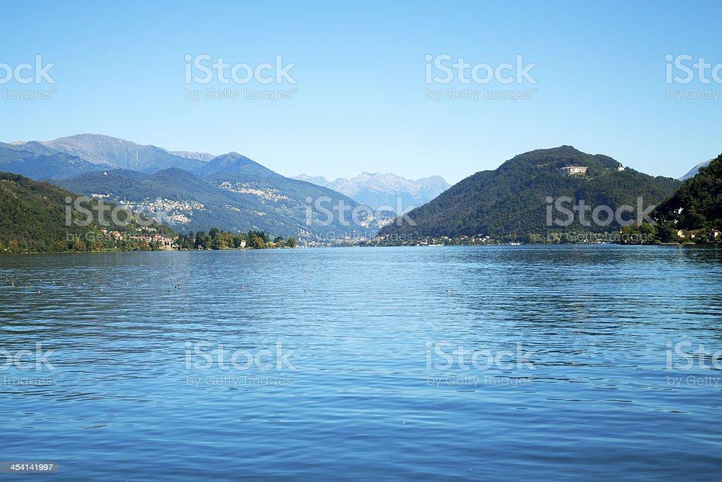 Alps and Lake Lugano stock photo