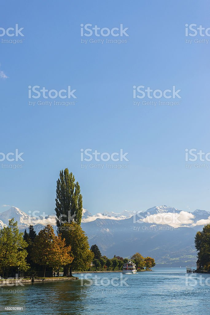 Alps and Thun lake near Spiez town in Switzerland, Europe stock photo
