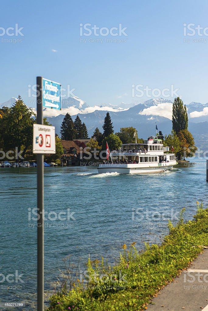 Alps and Thun lake near Spiez town in Switzerland, Europe royalty-free stock photo