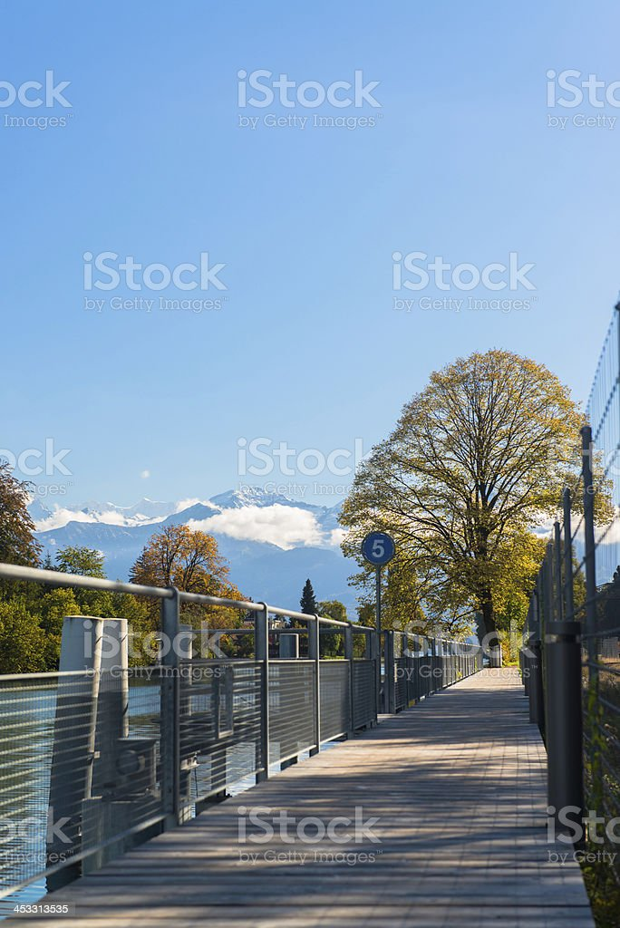 Alps and Thun lake near Spiez town in Switzerland, Europe royalty-free stock photo