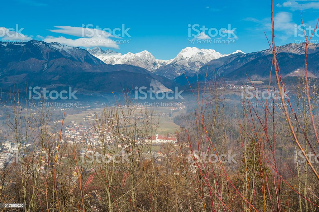 Alps and valley. stock photo