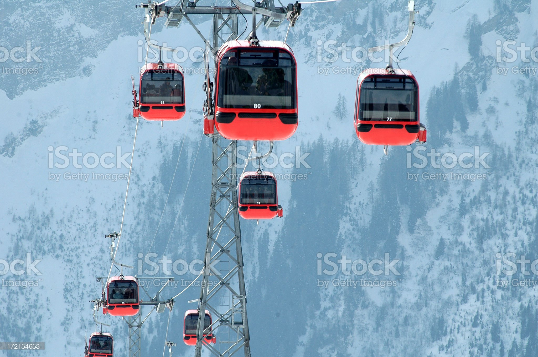 Alps Cablecars Leukerbad Switzerland royalty-free stock photo