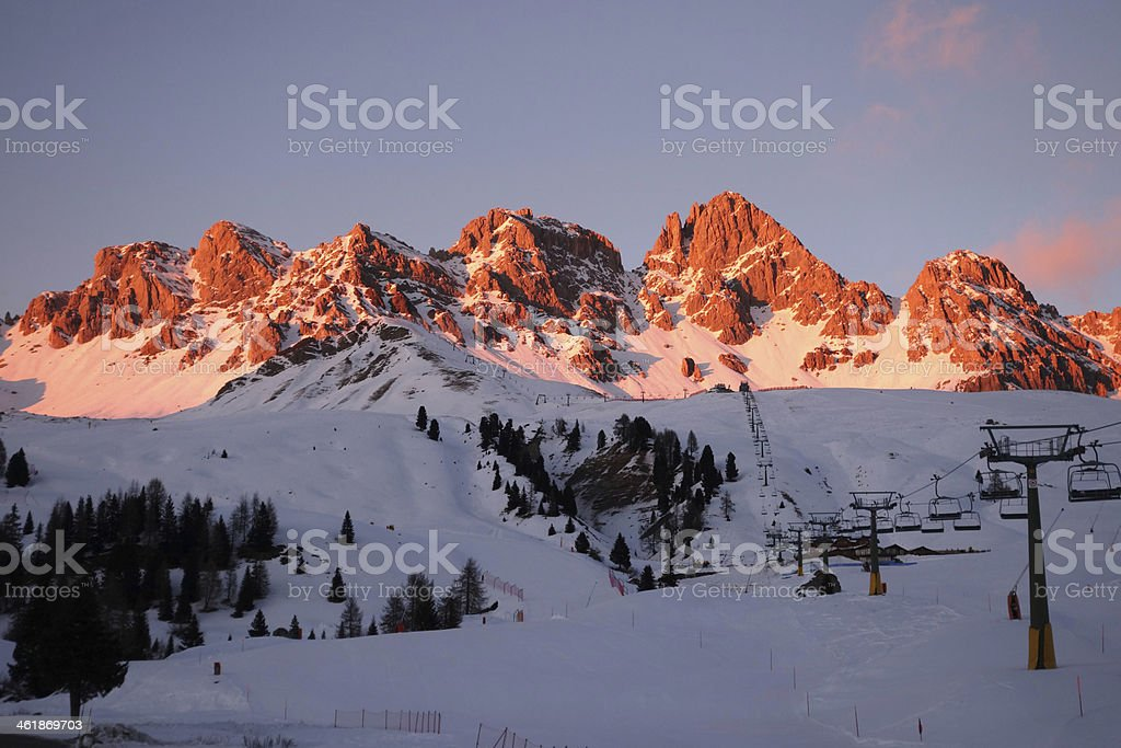 Alps Dolomiti Italy Winter time stock photo