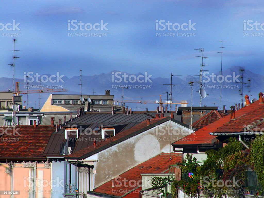 Alps from Rooftop in Milan royalty-free stock photo