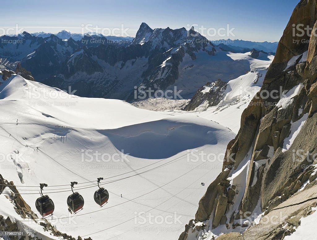 Alps gondolas and glaciers stock photo