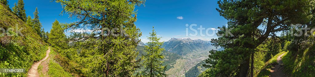 Alps green mountain forests idyllic earth trail panorama royalty-free stock photo