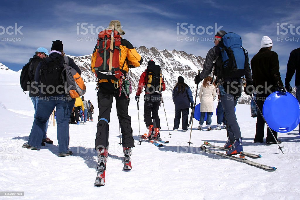 'Alps', Group of skiers in Glacier Jungfraujock, Switzerland royalty-free stock photo