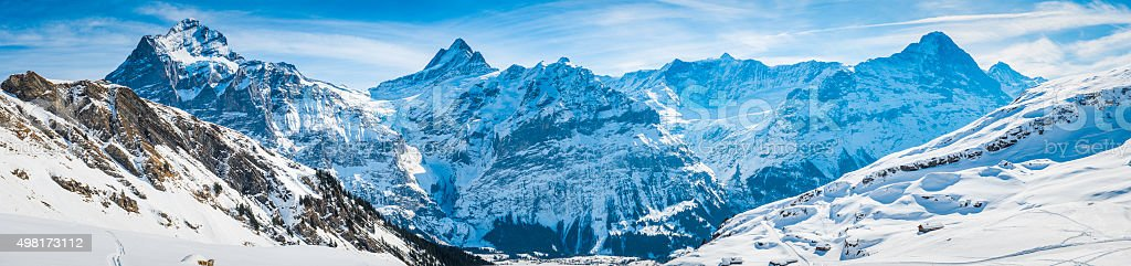 Alps iconic Swiss Alpine peaks panorama snowy winter wonderland Switzerland stock photo