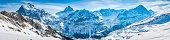 Alps iconic Swiss Alpine peaks panorama snowy winter wonderland Switzerland