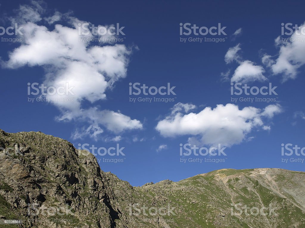 Alps in the mercantour with mountain range and blue sky stock photo