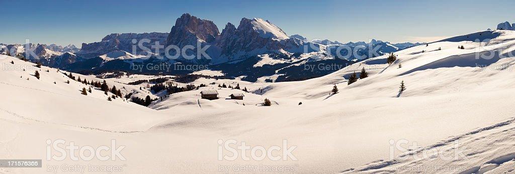 Alps Italian Dolomites Panoramic View During Winter stock photo
