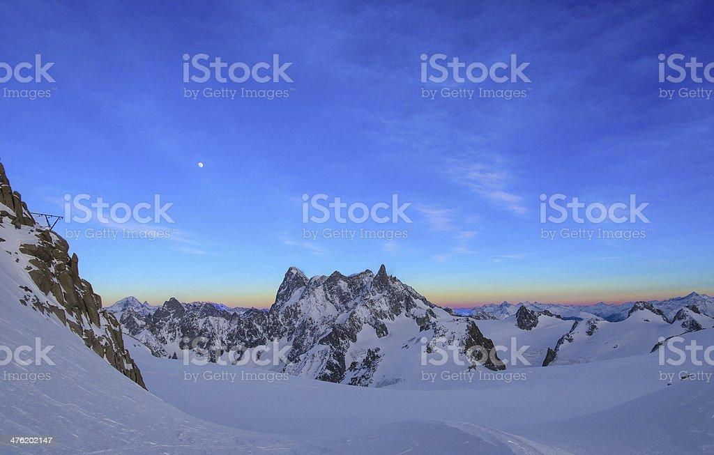 Alps landscape at Aiguille du Midi stock photo