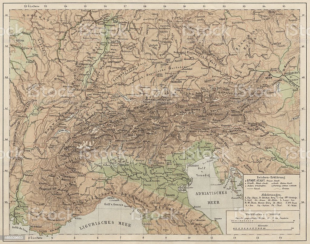 Alps, lithograph, published in 1881 royalty-free stock photo