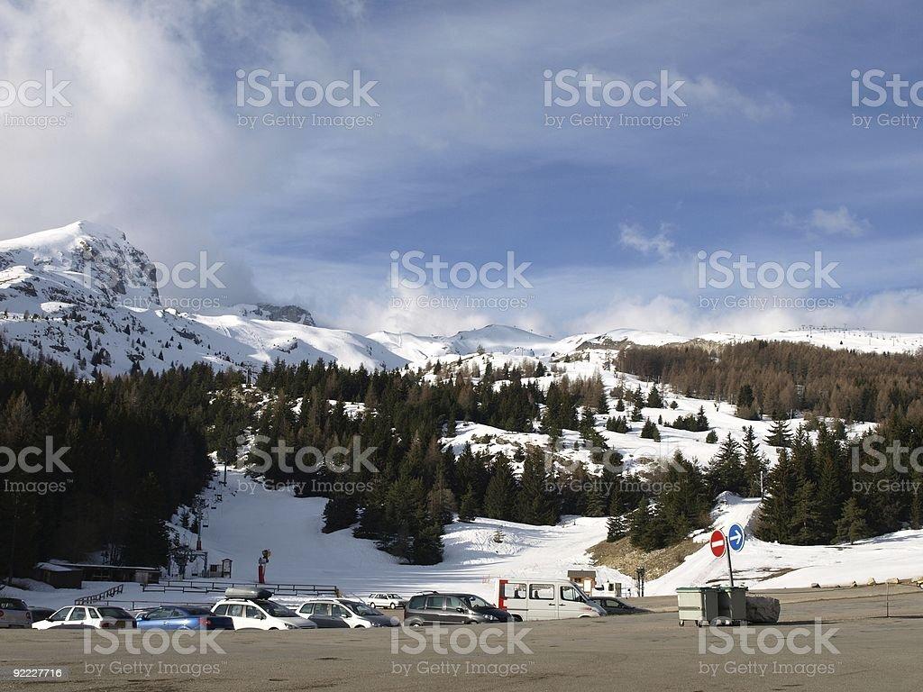 Alps Massiv de Devoluy with ski resort Super Devouly royalty-free stock photo