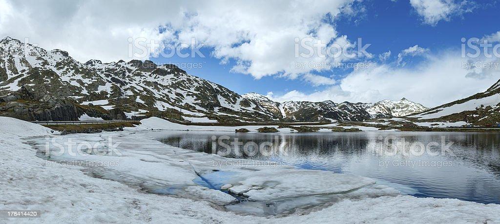 Alps mountain lake (spring panorama). stock photo