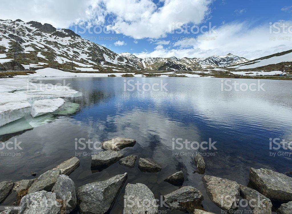 Alps mountain lake stock photo