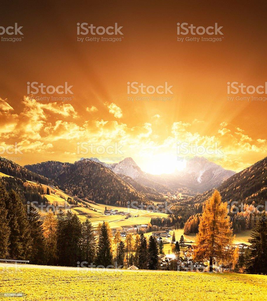 alps mountain landscape in autumn stock photo
