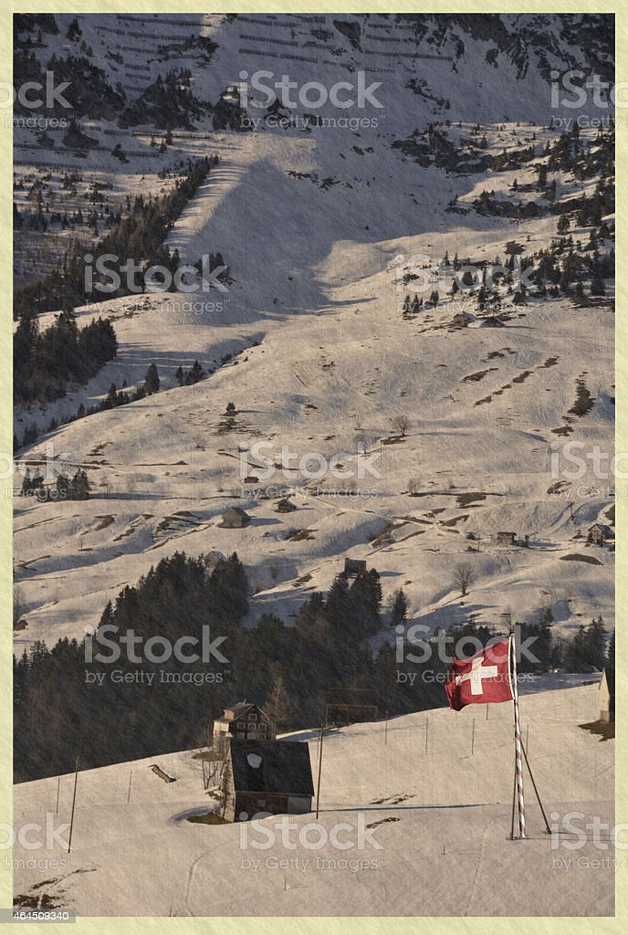 Alps mountain landscape , Switzerland retro stock photo