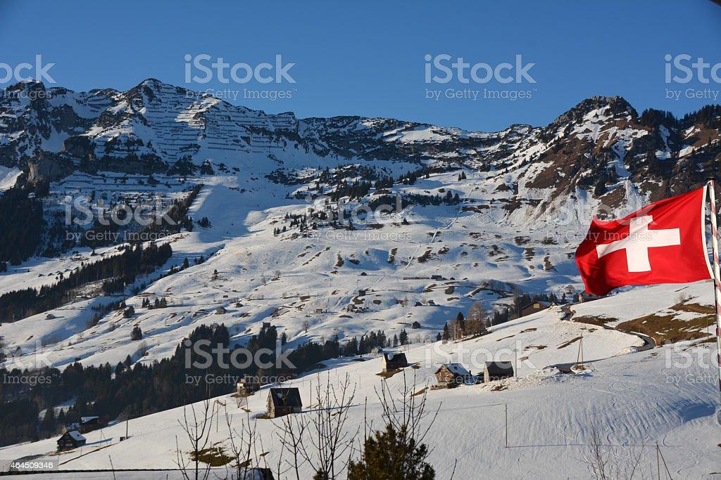 Alps mountain landscape , Switzerland with swiss flag stock photo