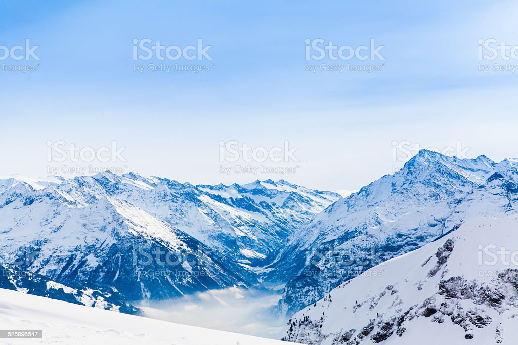 Alps mountain landscape. Winter landscape stock photo