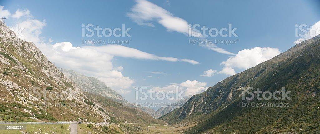 Alps mountain pass in Switzerland stock photo