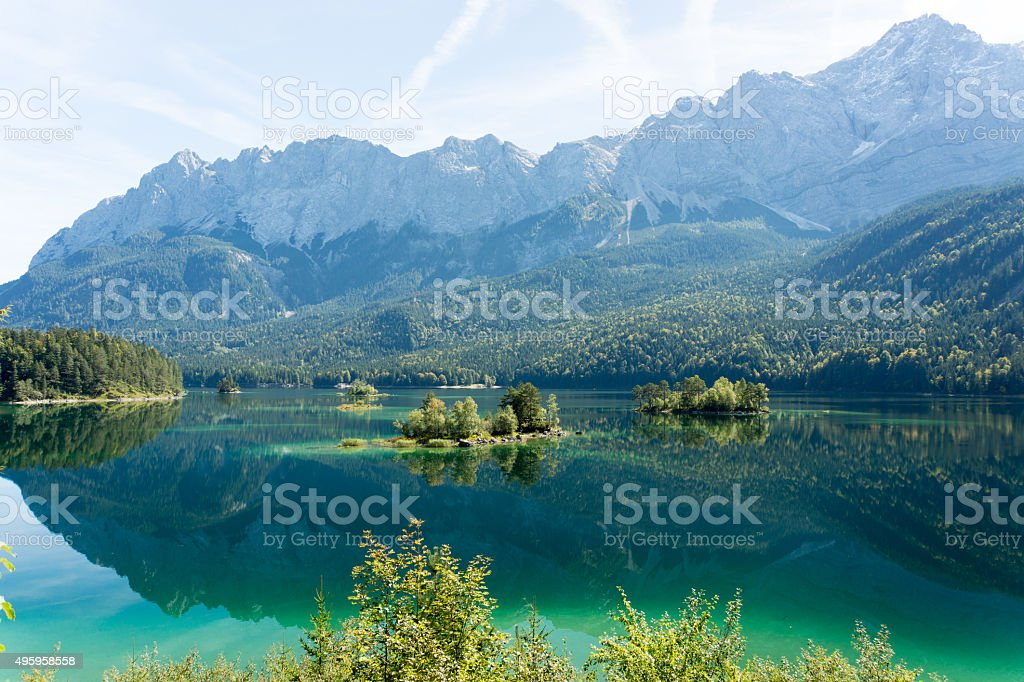 Alps Panorama from Eibsee stock photo