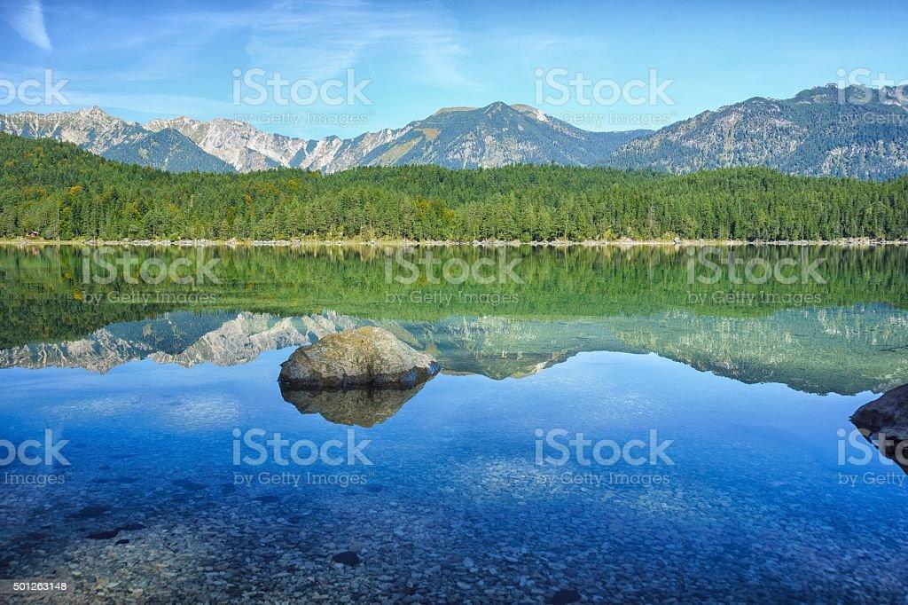 Alps Panorama mirrored in Lake Eib / Bavaria stock photo