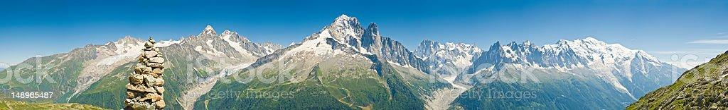 Alps panorama summer vista stock photo