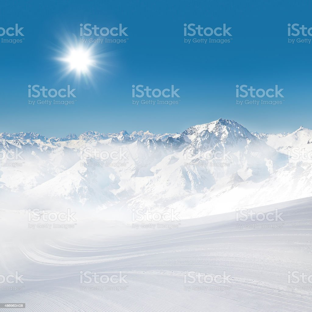 Alps panorama view in winter snow time stock photo