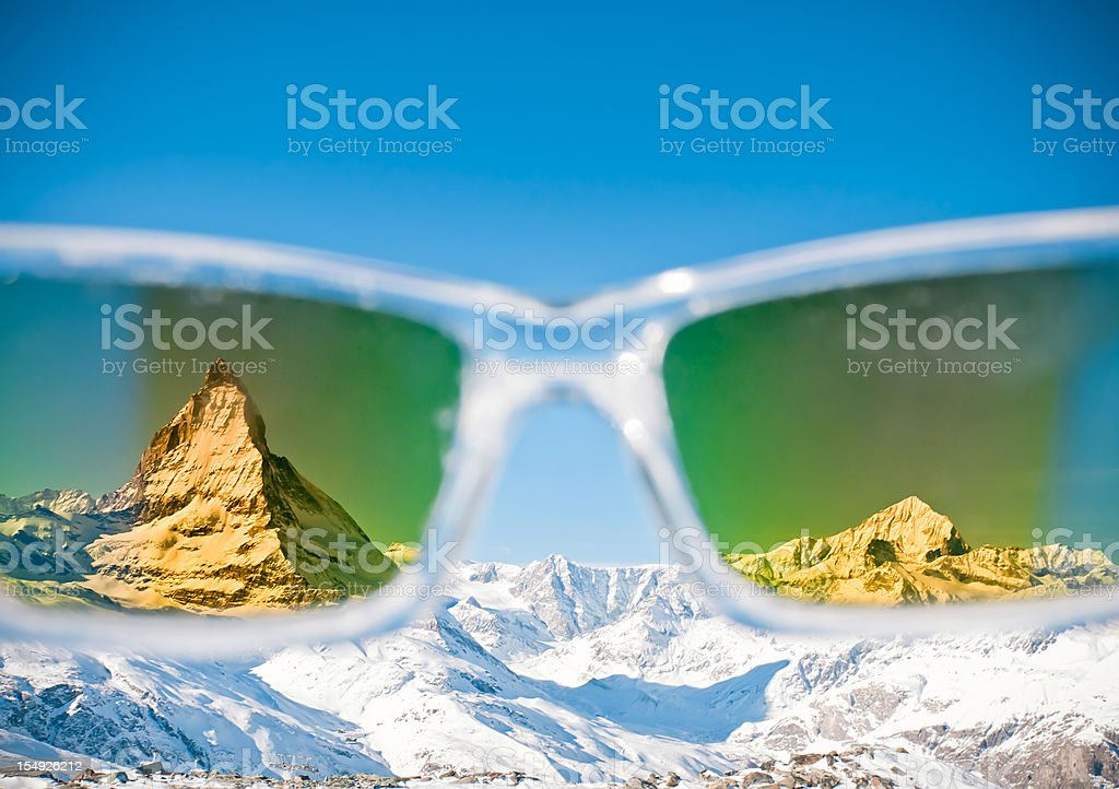Alps Seen Through Sunglasses stock photo