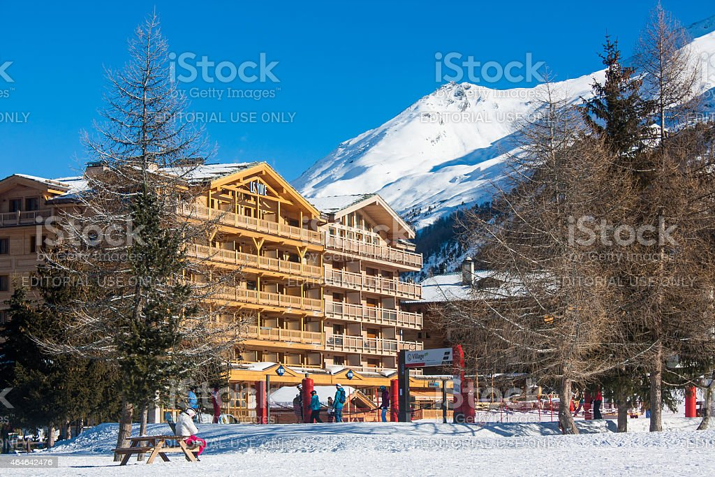 Alps ski resort mountain in early winter in Val d'Isere stock photo