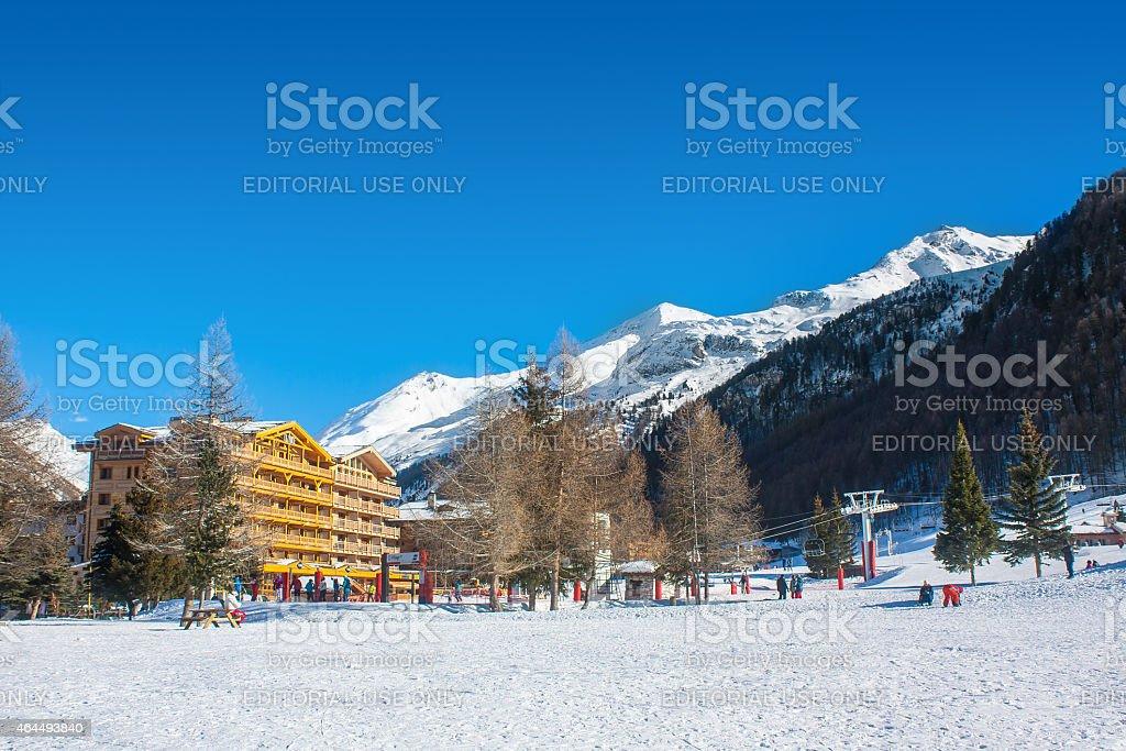 Alps ski resort mountain in early winter stock photo