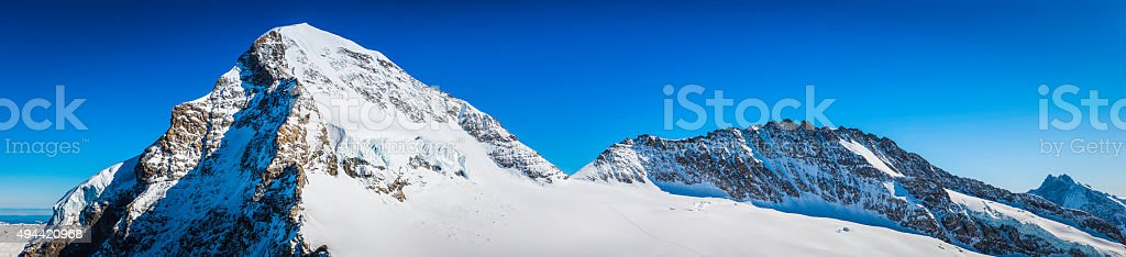 Alps snowy mountain peaks panorama Monch Trugborg Aletsch Glacier Switzerland stock photo