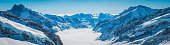 Alps snowy mountain peaks panorama overlooking Aletsch glacier Valais Switzerland