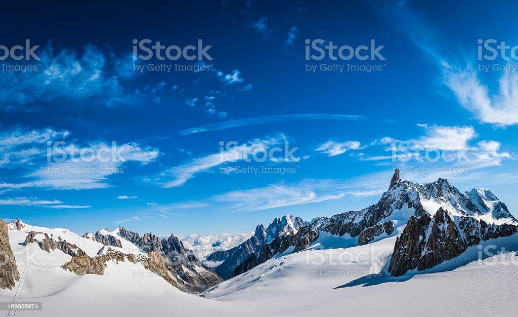 Alps snowy mountain valley dramatic rocky peaks panorama blue sky stock photo