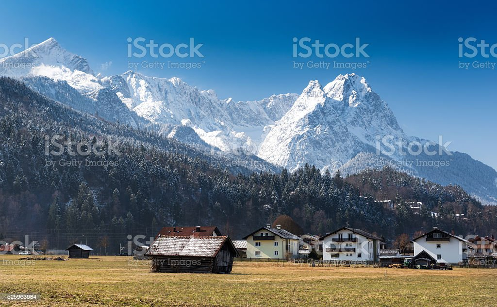 Alps, view from Loisach Valley, Garmisch-Partenkirchen stock photo