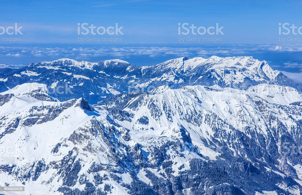 Alps, view from the top of Mt. Titlis in Switzerland stock photo