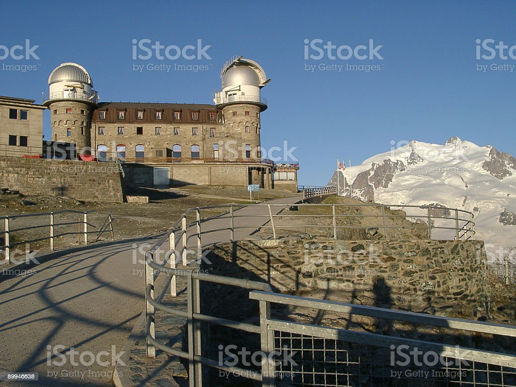 Alps view, Gornergrat hotel and space observatory near the Matte royalty-free stock photo