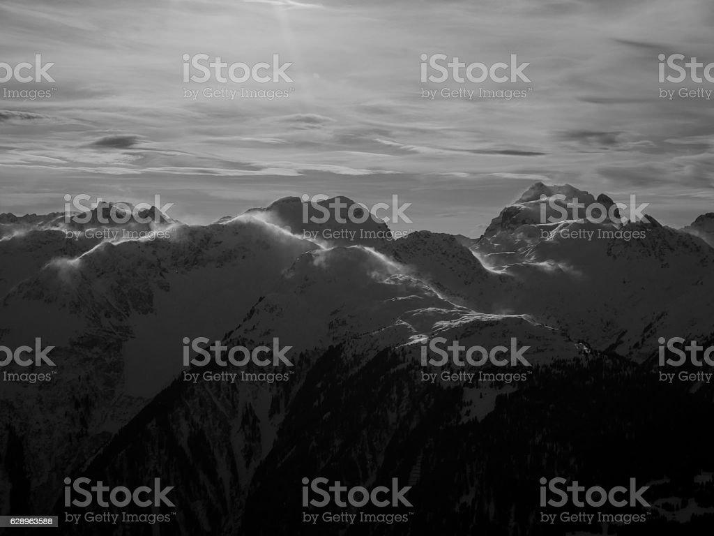 Alps winter black and white stock photo