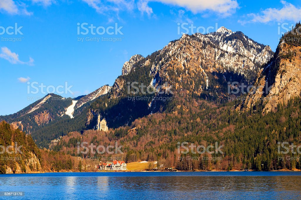 Alpsee lake landscape with Alps mountains stock photo