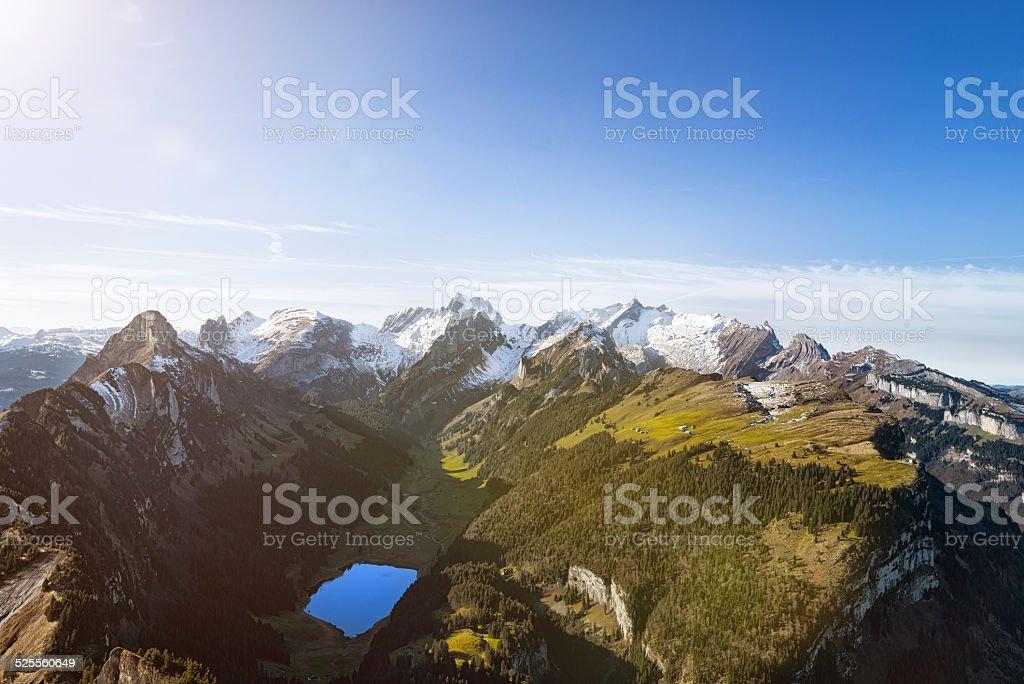 Alpstein Massiv with Mountain S?nits in Appenzellerland Switzerland stock photo