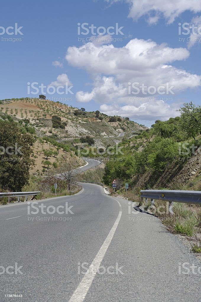 Alpujarras rural twisty road in Spain stock photo