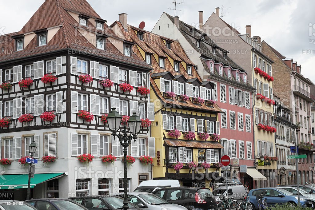 Alsace - Colorful old houses in Strasbourg stock photo