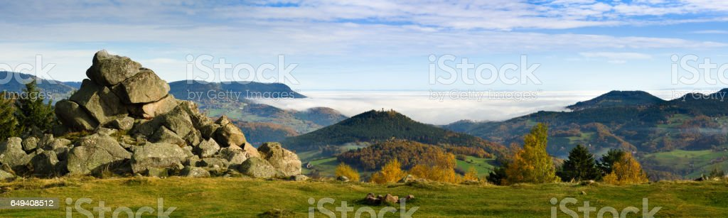 Alsace in automn - mountains view stock photo