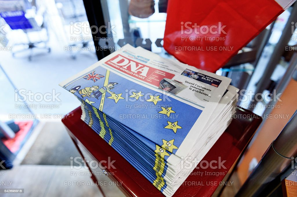 DNA Alsace  newspaper with shocking headline about brexit stock photo