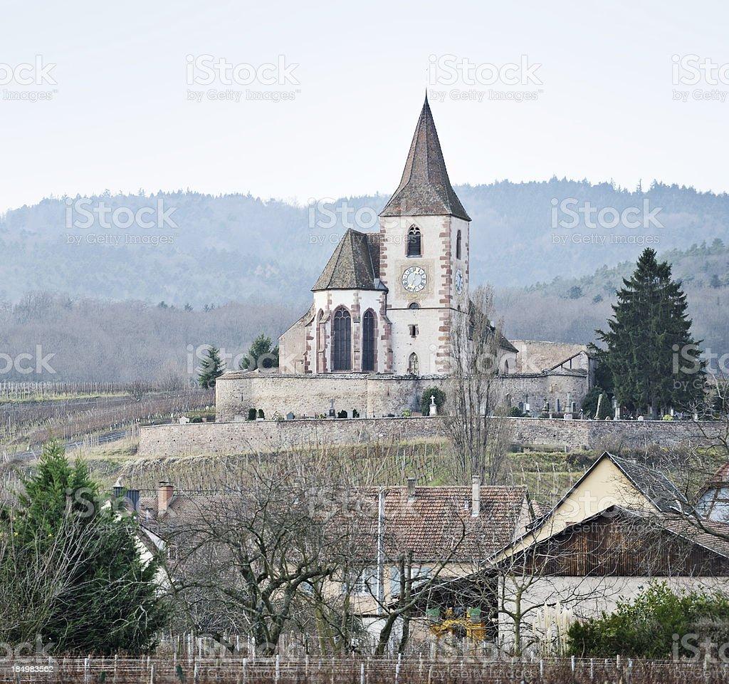 Alsace village landscape, France stock photo