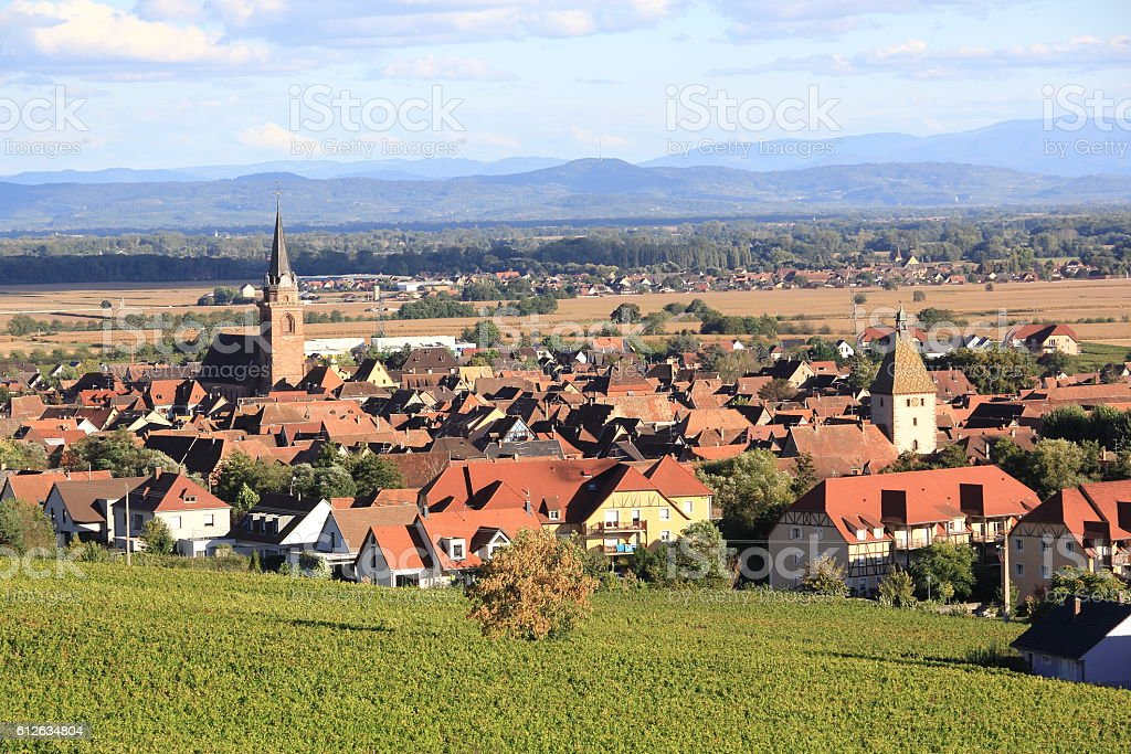 Alsatian village of Bergheim stock photo