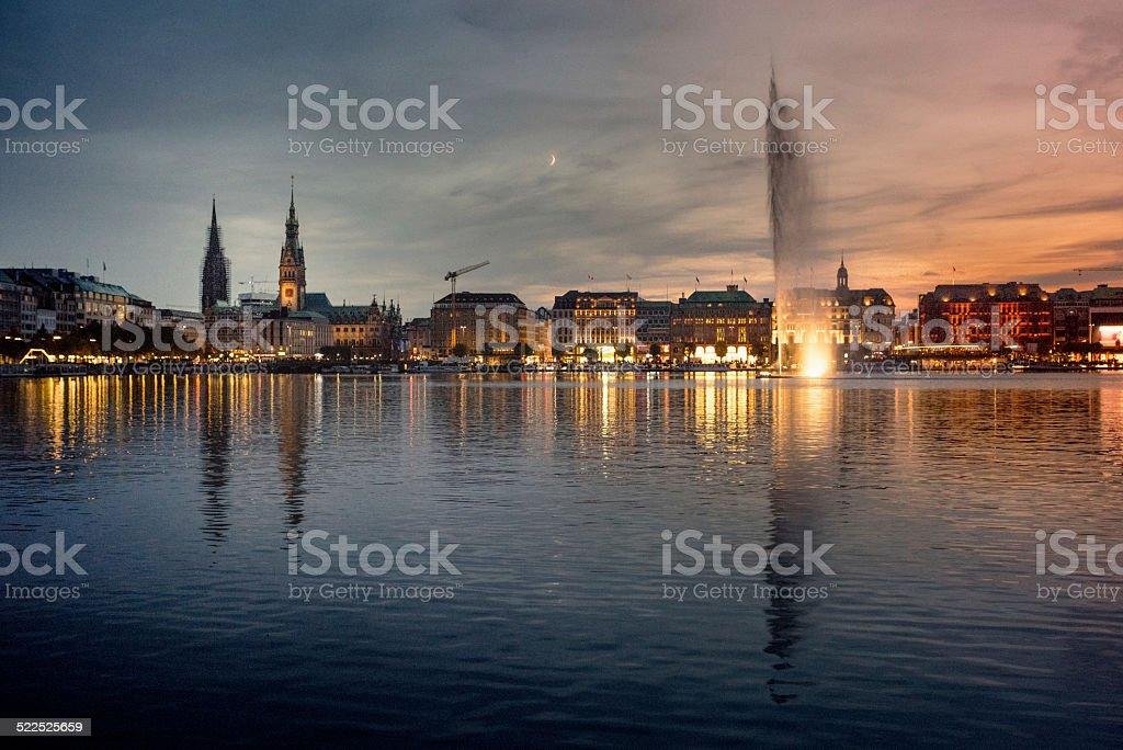 Alster Lake Hamburg at sunset - Hamburger Binnenalster stock photo